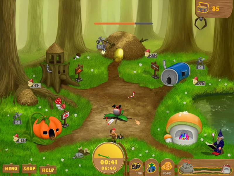 Explore the fantastic Land of Gnomes! Manage your miners to get precious gems an